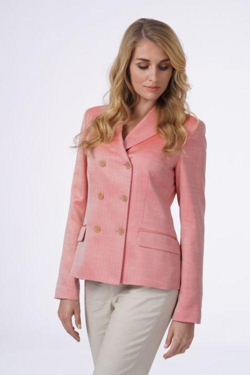 Limited Edition - Ženski sako roze boje od lana i vune s duplim kopčanjem
