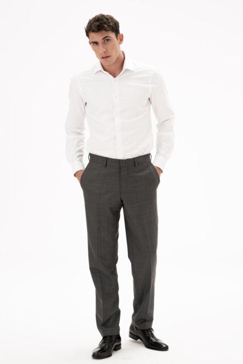 Sive muške hlače od runske vune - Comfort fit