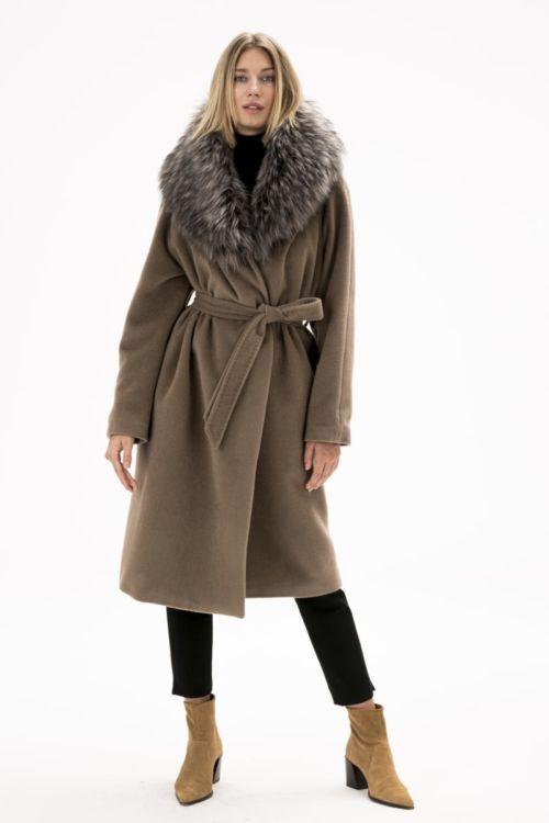 Varteks ženski kaput s krznom boje pijeska