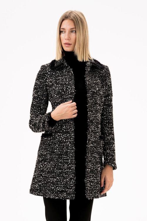 Ženski sako - kaput od atraktivne tkanine