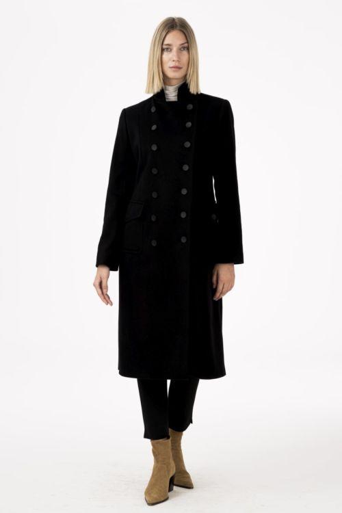 Ženski military kaput od runske vune i kašmira