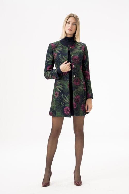 Ženski sako - kaput cvjetnog uzorka