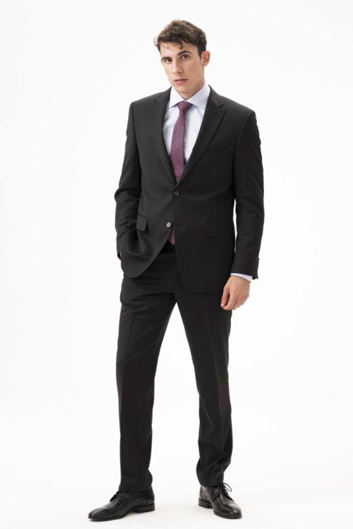 Crne hlače od runske vune Super 120's - Comfort fit