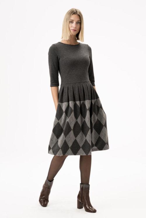 Siva ženska haljina s argyle uzorkom