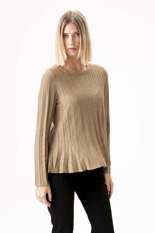 Zlatna ženska majica dugih rukava na falde