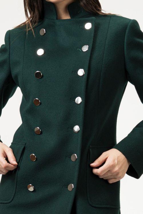Ženski military kaput tamno zelene boje