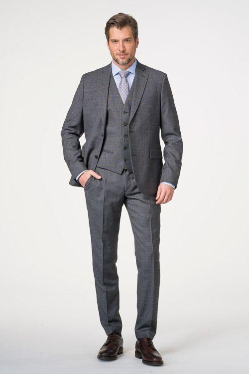 Muško odijelo s prslukom kariranog uzorka 120's