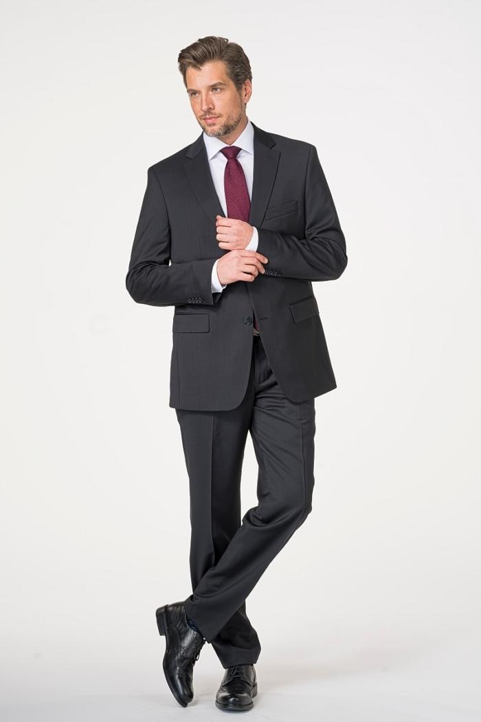 Crno muško odijelo od runske vune Super 120's - Comfort fit