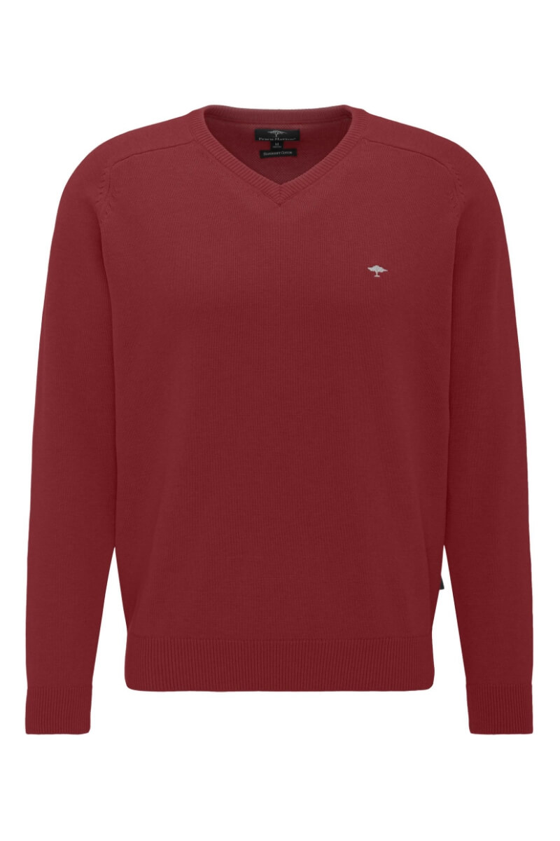Varteks Men's cotton sweater in dark red color - Fynch Hatton