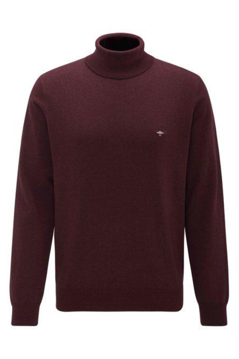 Varteks Men's high neck sweater in burgundy red and black color - Fynch Hatton