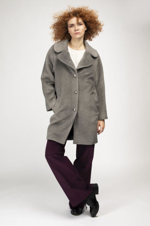 Ženski topli zimski kaput sive boje