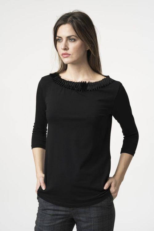 Ženska majica 3/4 rukava s naborima na ovratniku