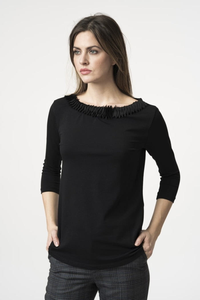 Varteks Women's T-shirt 3/4 sleeves with pleats on the collar