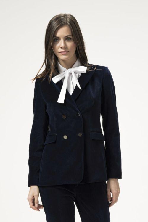 Ženski sako od pliša tamno plave boje
