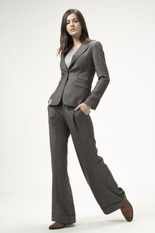 Ženske karirane hlače širokog kroja