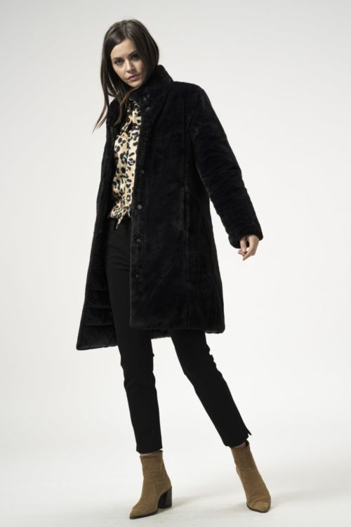 Dvostrana crna ženska jakna