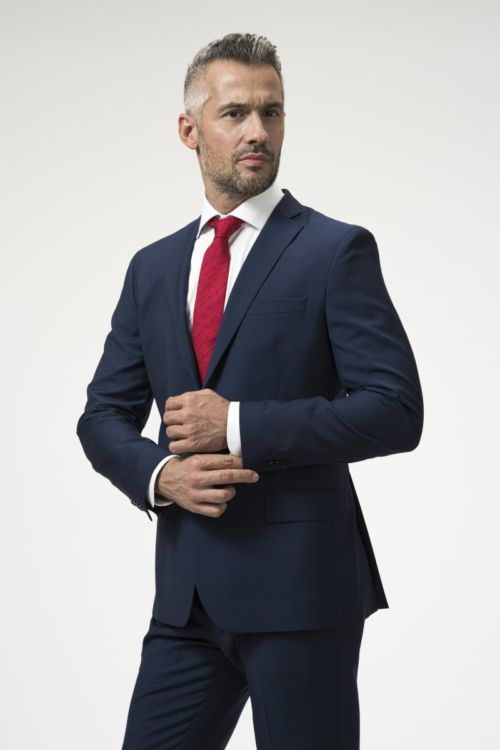 Muški sako plave boje 100's - Slim fit