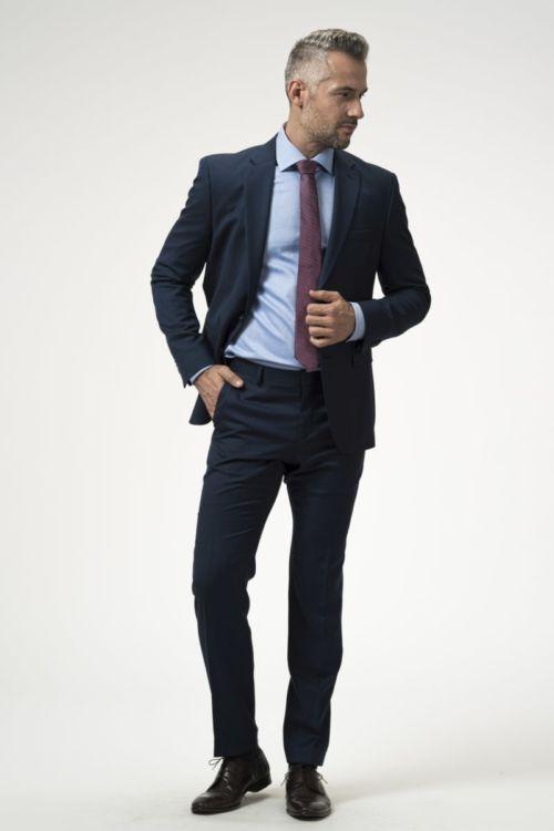 Muške hlače plave boje od runske vune 110's - Regular fit