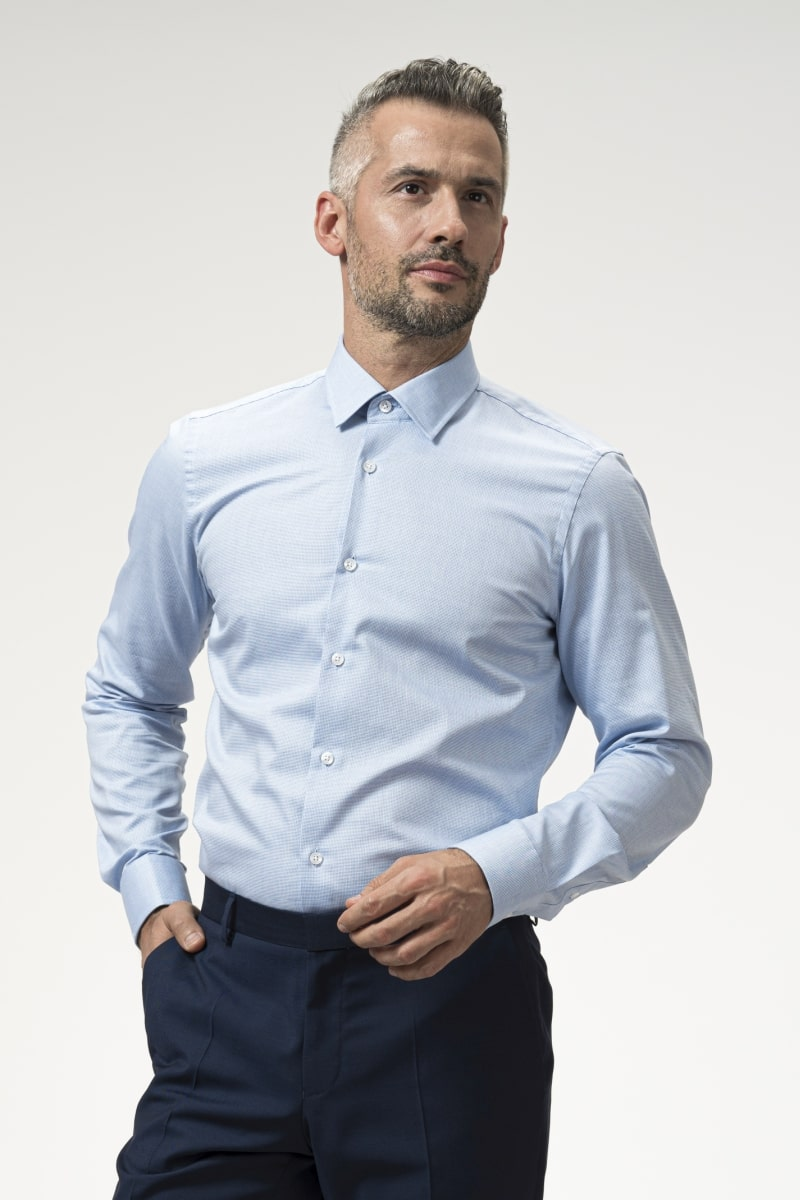 Varteks Men's long-sleeved blue shirt