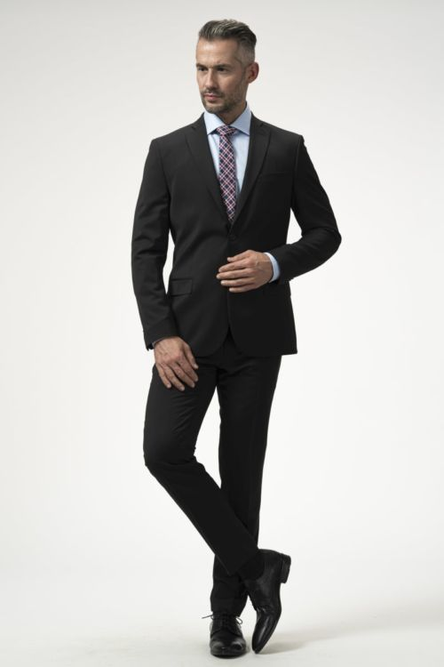 Muške crne poslovne hlače 120's - Slim fit