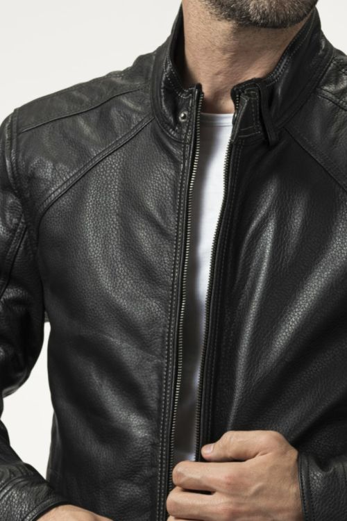 Muška soft biker crna kožna jakna - bugatti