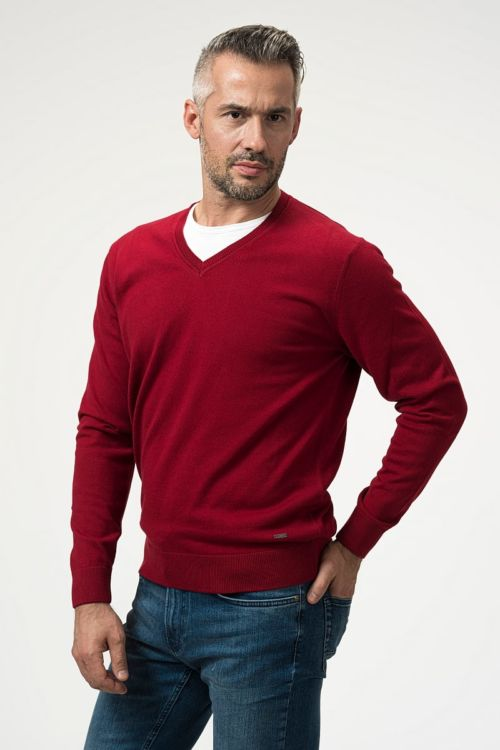 Pamučni muški pulover s V izrezom