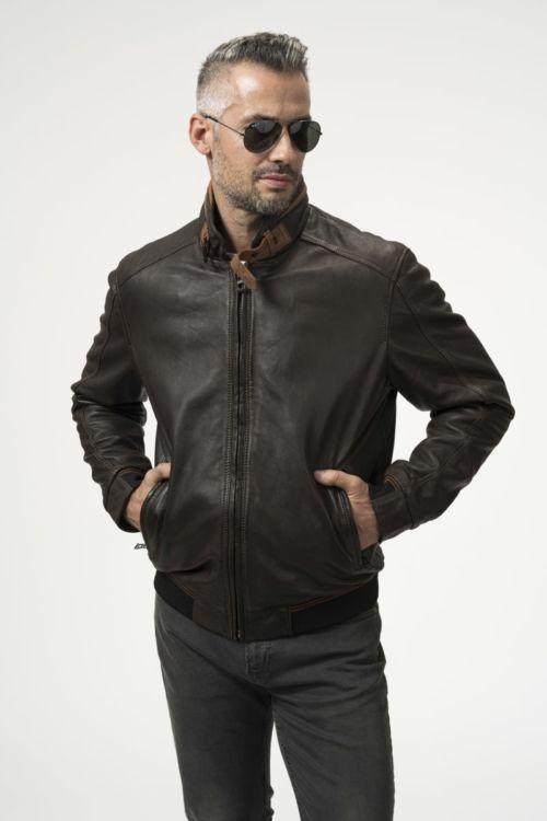 Muška klasična smeđa kožna jakna - bugatti