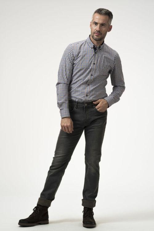 Muške traper hlače sivo smeđe boje - Slim fit