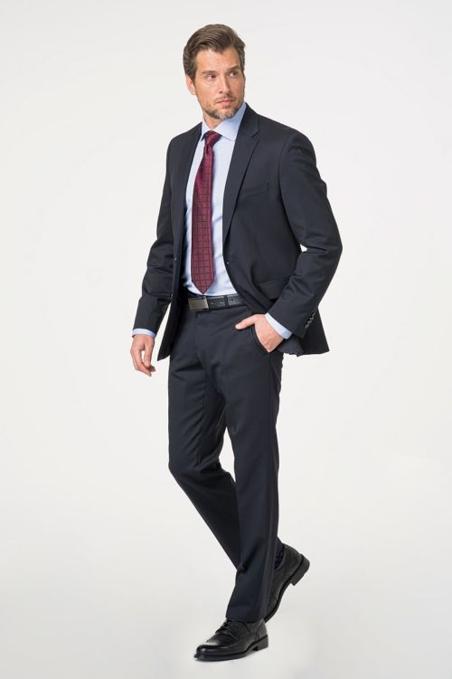 Tamno plavo odijelo od runske vune - Regular fit