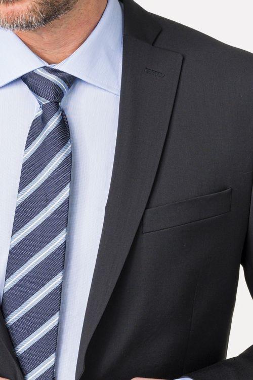 Muški crni poslovni sako od odijela 120's - Slim fit