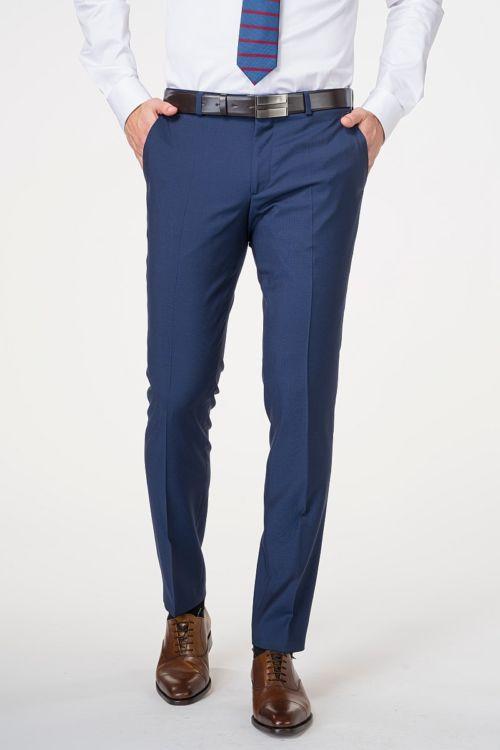 Muške hlače od odijela plave boje 100's - Slim fit