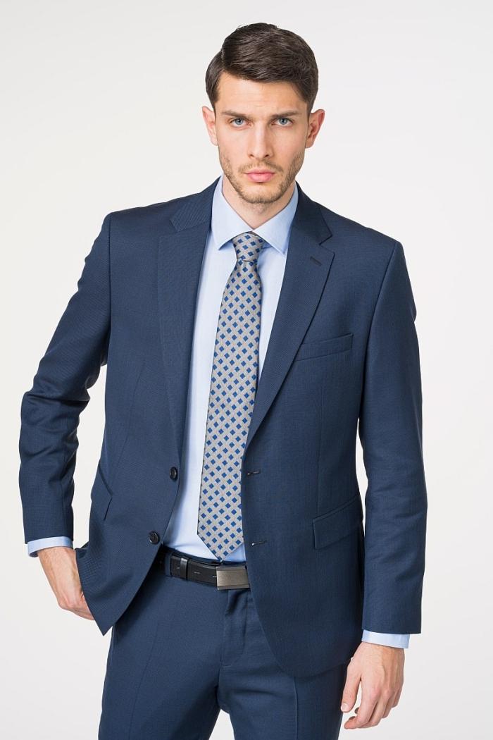 Muški sako od odijela plave boje od runske vune 110's - Regular fit