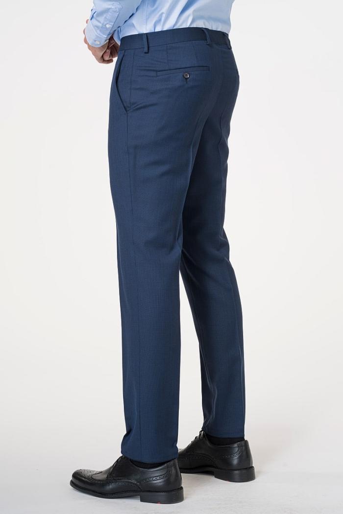 Muške hlače od odijela plave boje od runske vune 110's - Regular fit