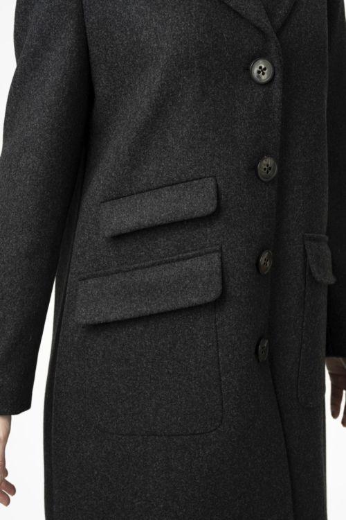 Ženski tamno sivi vuneni strukirani kaput