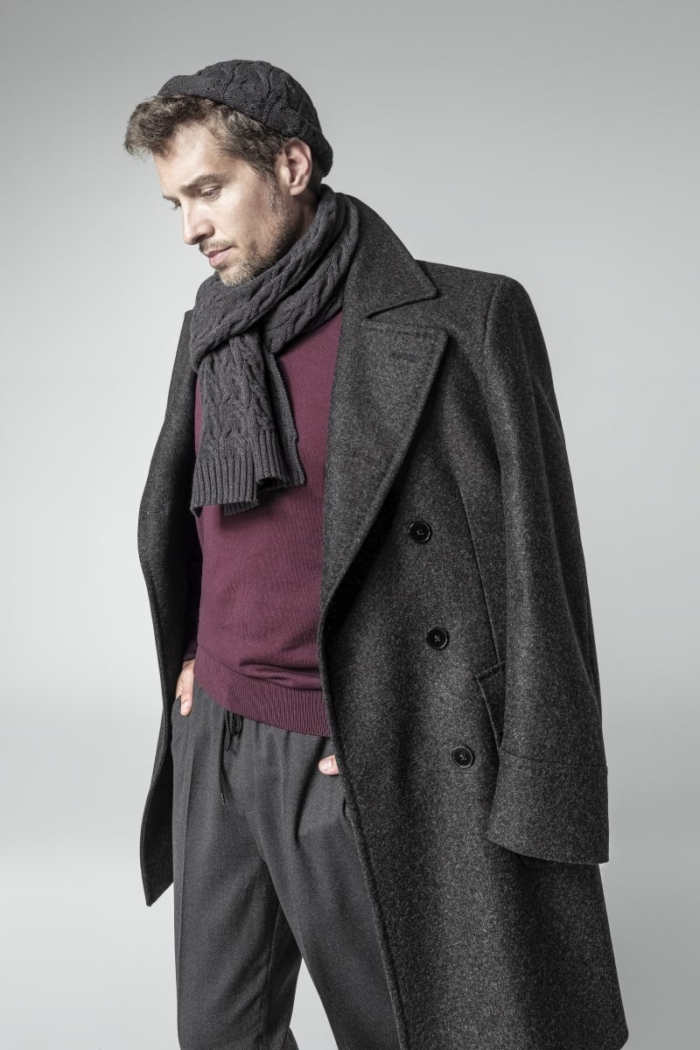 Classic men's chesterfield coat in gray