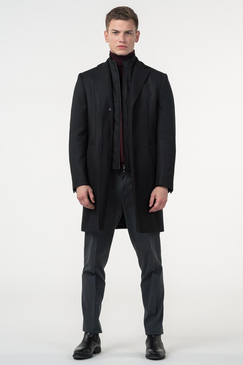 Varteks Muški crni kaput s umetkom