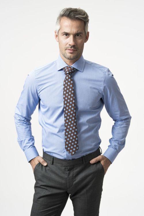 NON IRON košulja s mikro plavim dezenom - Slim fit