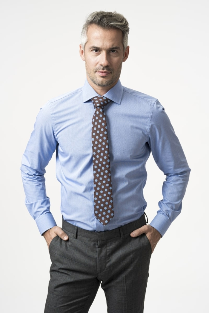 Varteks NON IRON shirt with micro blue pattern - Slim fit