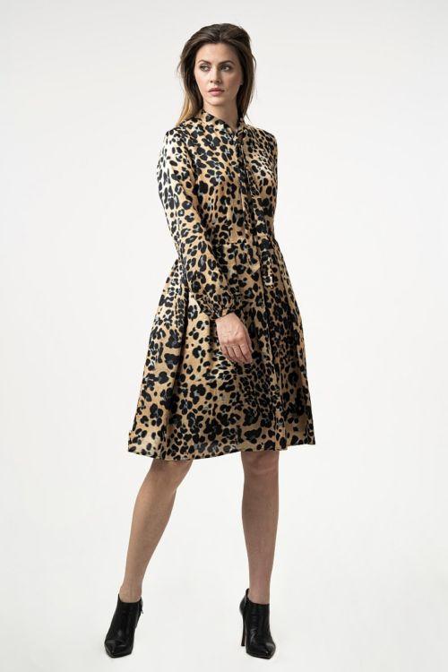 Haljina leopard uzorka kombinacije svile i pamuka