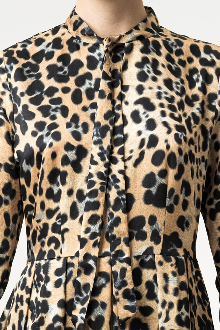 Varteks Leopard pattern dress combination of silk and cotton