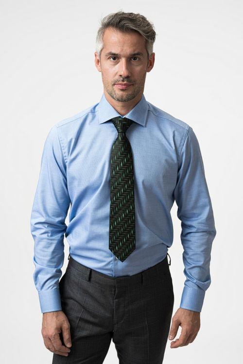 NON IRON Plava košulja dugih rukava - Regular fit