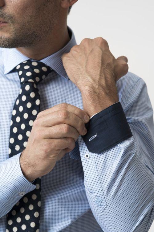 Muška svjetlo plava košulja s mikro dezenom - Slim fit