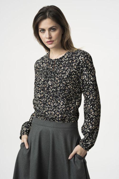 Ženska bluza s decentnim uzorkom u dvije boje