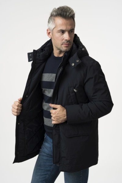 Men's dark blue jacket with a hood