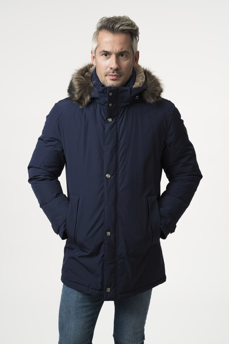 Men's dark blue jacket with fur - bugatti