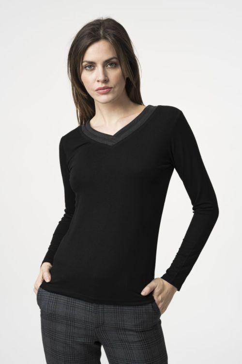 Ženska majica dugih rukava s V izrezom u tri boje