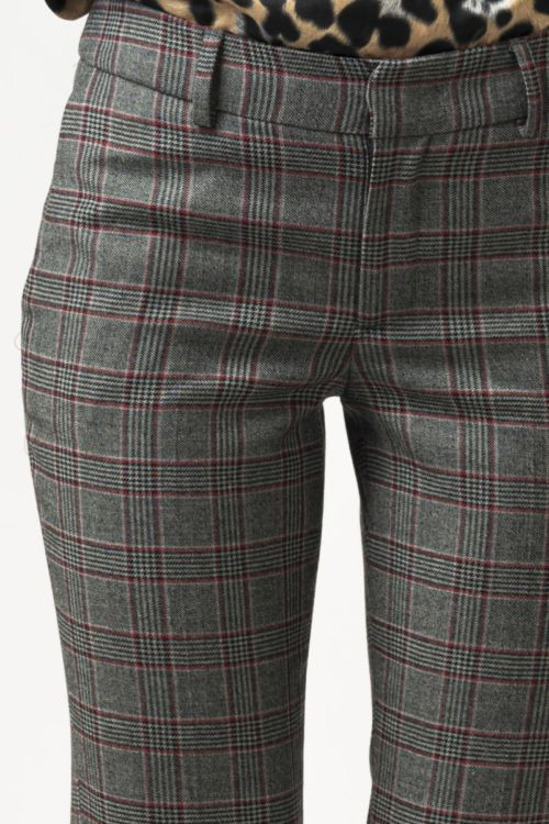 Ženske sivo crveno karirane 7/8 hlače