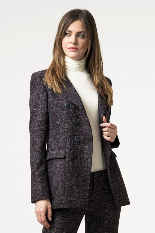 Ženski atraktivni sako ljubičastog sol-papar uzorka