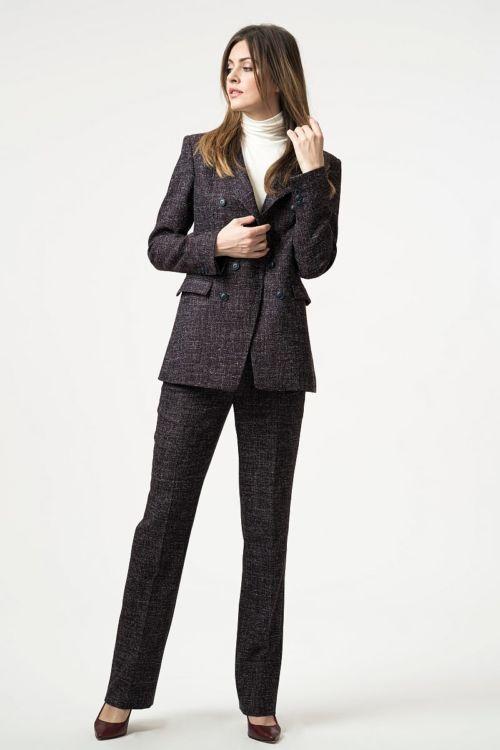Ženske atraktivne hlače ljubičastog sol-papar uzorka
