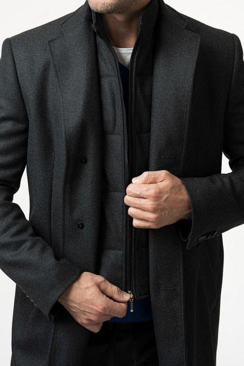 Muški sivi kaput s umetkom